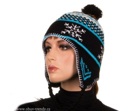 zimní čepice norský vzor černá