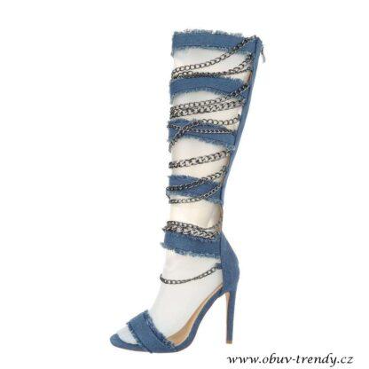 džínové sandály s řetízky