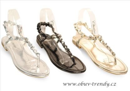 sandály s kamínky střibrné