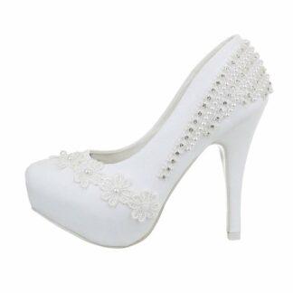 svatební lodičky bílé